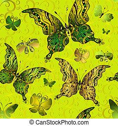 patrón, vívido, verde, seamless, vendimia