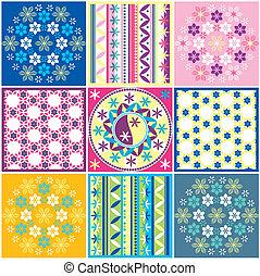 patrón, variaciones, seamless, coloreado
