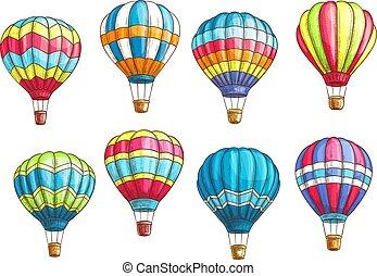 patrón, vector, aire, caliente, iconos, conjunto, globos, ...