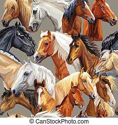 patrón, vector, caballos, cabezas, seamless