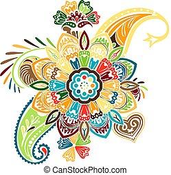 patrón, vector, elementos, mandala, tradicional, asiático, cachemira, basado