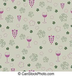 patrón, vector, elementos, vino