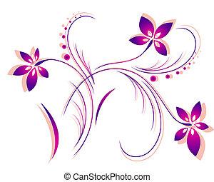 patrón, vector, flor