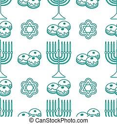 patrón, vector, hanukkah, judío, seamless, feriado