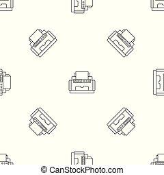 patrón, vector, laser, seamless, impresora