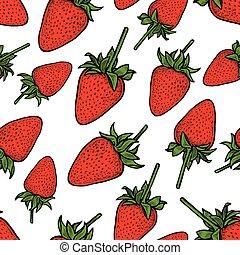 patrón, vector, maduro, fresa