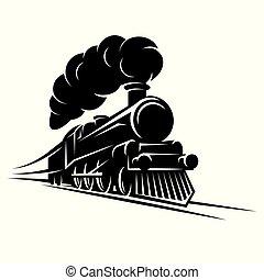 patrón, vector, monocromo, diseño, retro, tren, ilustración...