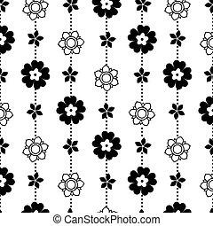 patrón, vector, negro, intrincado, flores blancas