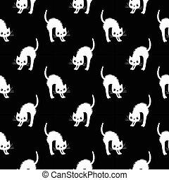 patrón, vector, negro, lindo, fondo blanco, ropa, textil, seamless, gatos, moderno