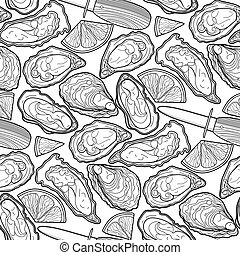 patrón, vector, ostras, gráfico