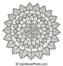 patrón, vector, redondo, floral, hermoso, mandala., ornamento