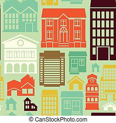 patrón, vector, seamless, casas