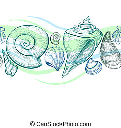 patrón, vector, seamless, conchas de mar