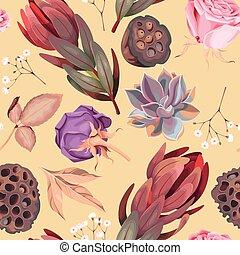 patrón, vector, suculento, flores, seamless