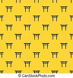 patrón, vector, torii, japonés