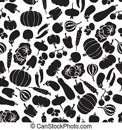 patrón, vegetales, seamless