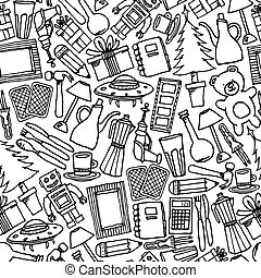 patrón, venta, /, seamless, garaje, objetos, plano de fondo