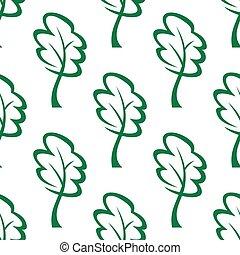 patrón, verde, contorno, árboles, seamless