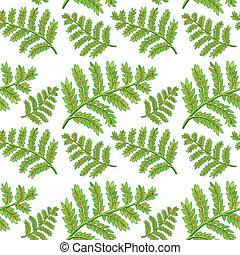 patrón, verde, seamless, helecho
