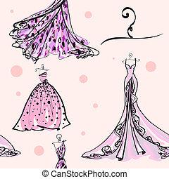 patrón, vestido, diseño, boda