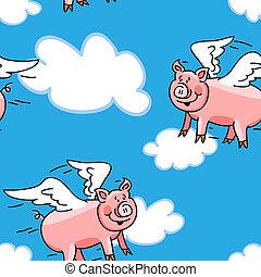 patrón, vuelo, seamless, cerdo