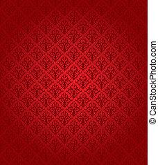 patrón, (wallpaper), seamless, rojo