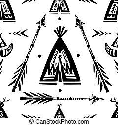 patrón, wigwam, flechas, el pis de la te