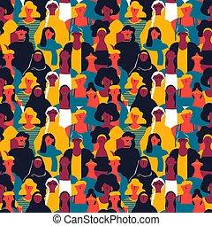 patrón, womens, diverso, seamless, día, mujer, caras