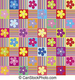 patrón, wth, coloreado, flores, y, rayas