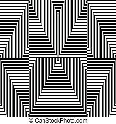 patrón, -, zigzag, óptico, negro, blanco, ilusión