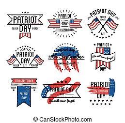patrióta, állhatatos, szeptember, emblémák, 11, nap