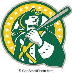 patrióta, arany, játékos, amerikai, zöld, retro, baseball