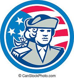 patrióta, lobogó, felsőtest, csíkoz, amerikai, csillaggal ...