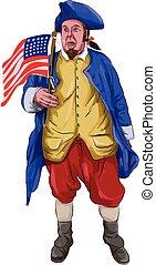 patrióta, lobogó, vízfestmény, kiabálás, amerikai, birtok