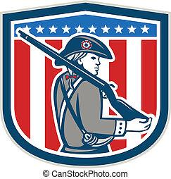 patrióta, pajzs, karabély, minuteman, amerikai, retro, ...