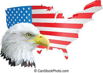 patriótico, águia americana, e, bandeira