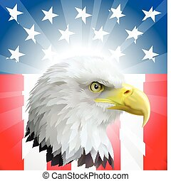 patriótico, aguila norteamericano, y, bandera