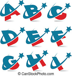 patriótico, alfabeto, 1, jogo, swoosh
