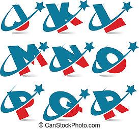 patriótico, alfabeto, 2, jogo, swoosh
