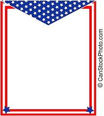 patriótico, americano, borda