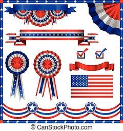 patriótico, americano, elementos