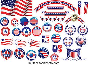 patriótico, americano, emblemas, e, etiquetas