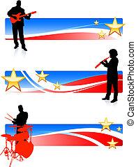 patriótico, banda, banderas, musical