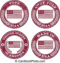 patriótico, bandeira, grunge, emblemas