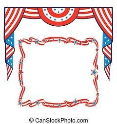 patriótico, bandera, frontera, template., nosotros