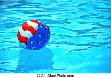 patriótico, bola, praia, piscina