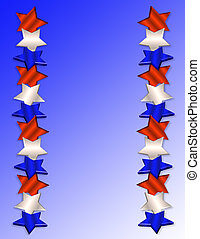 patriótico, borda, 3d, estrelas