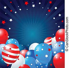 patriótico, borda, balões