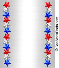 patriótico, borda, estrelas