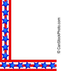patriótico, borda, estrelas listras